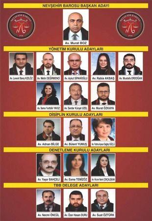 Nevşehir Baro Başkan adayı Murat Boz'un yönetim listesi